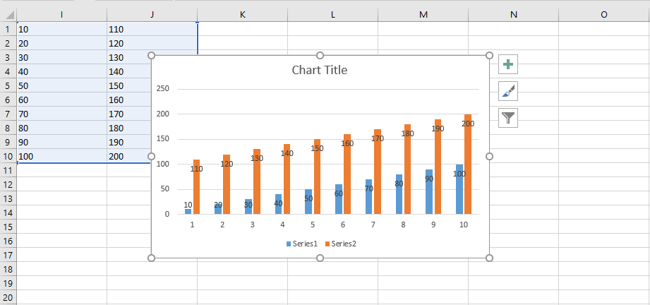 Creating instant chart with Alt+F1 shortcut in Excel