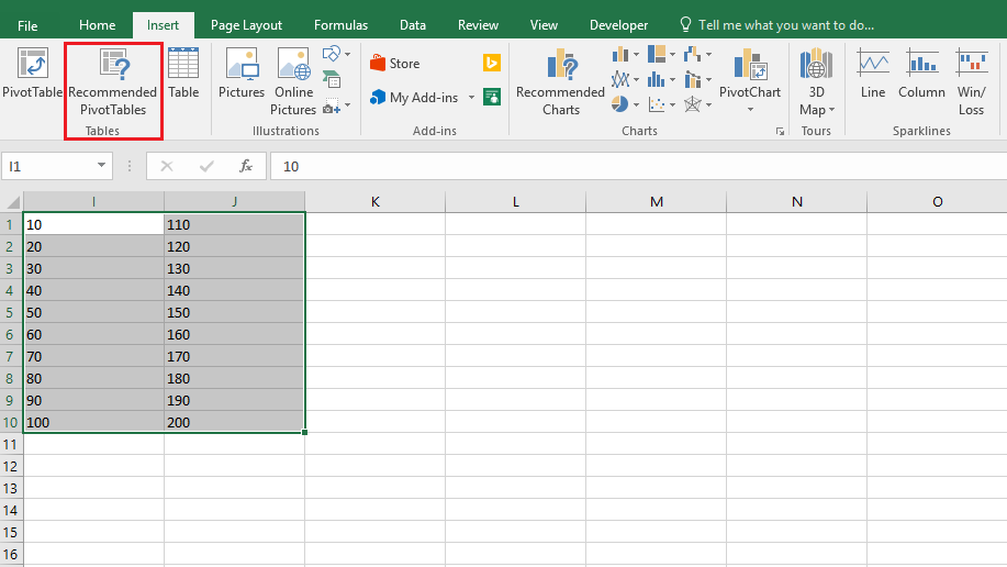 Insert > Recommended Pivot Tables in Excel