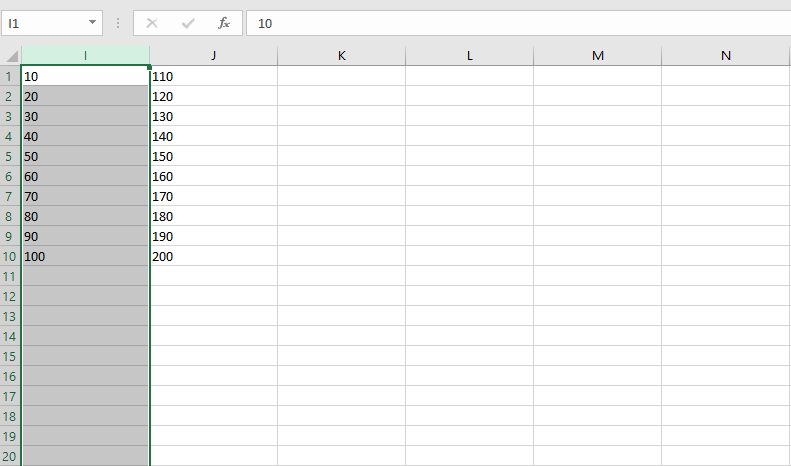 No Need to Scroll in Order to Select a Large Amount of Data in Columns