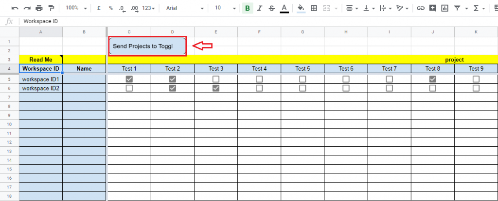 """Google Spreadsheet and Toggl integration, Adding Workplace ID and Project name and clicking on the """"Send Projects to Toggl"""" button."""