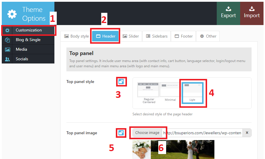 How to change the panel image (banner image) on each page in the Pablo Guadi, a Jewelry WordPress Template, version 1.1