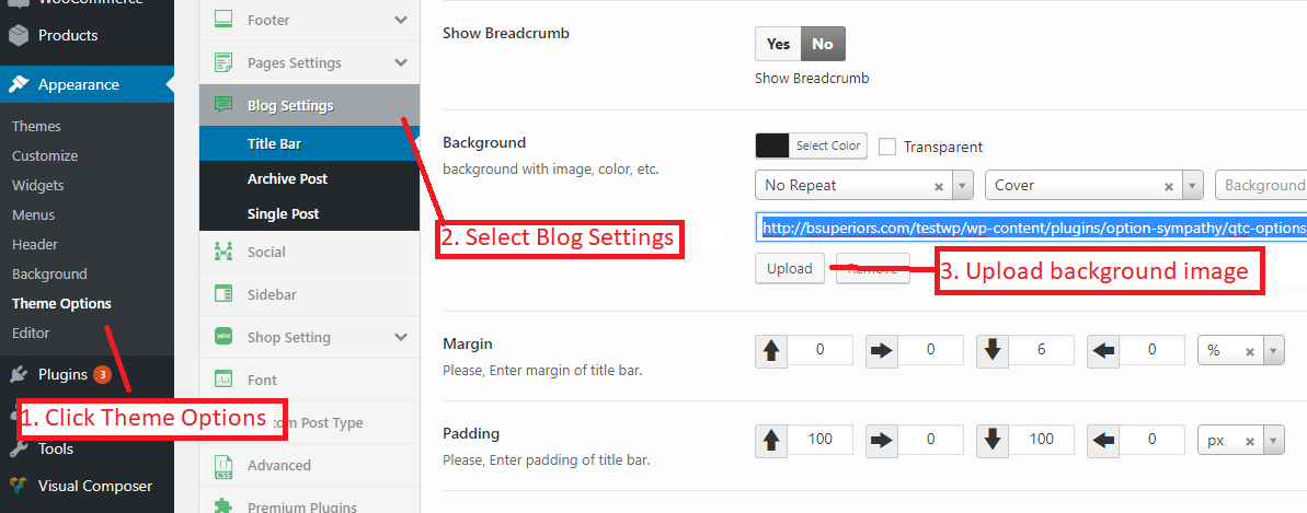 How to add/change the banner of the blog in the Sympathy, non-profit WordPress themev